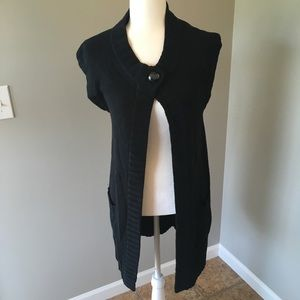 Chico's Long Black Chunky Knit Sweater Cardigan